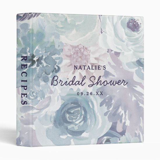 Annabelle Vintage Floral Bridal Shower Recipe Card 3 Ring Binder