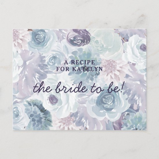 Annabelle Vintage Floral Bride to Be Recipe Card