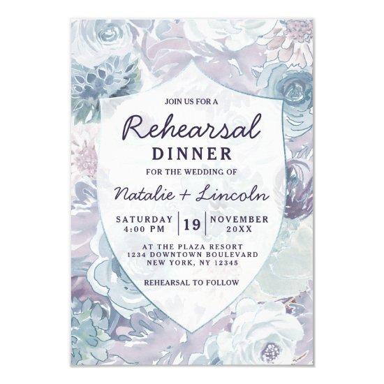 Annabelle Vintage Floral Crest Rehearsal Dinner Invitation