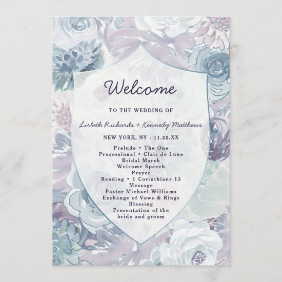 Annabelle Vintage Floral Crest Wedding Ceremony Program