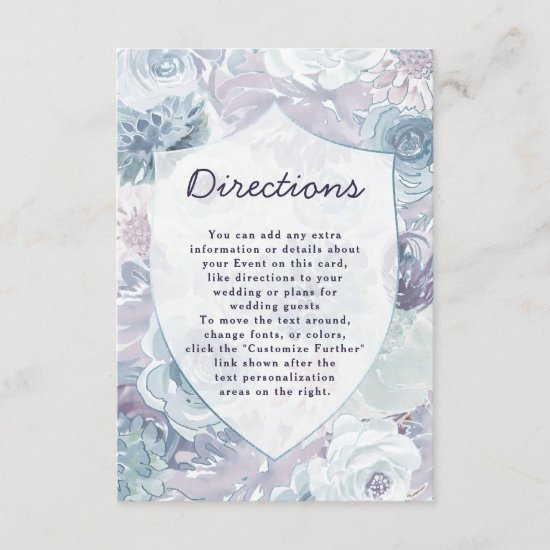 Annabelle Vintage Floral Crest Wedding Directions Enclosure Card