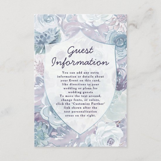 Annabelle Vintage Floral Crest Wedding Information Enclosure Card