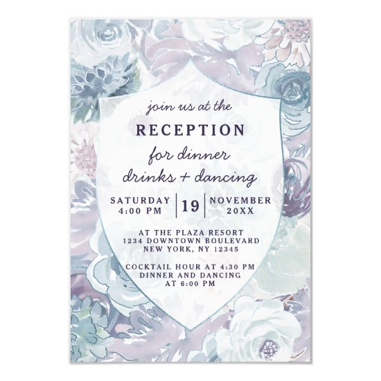 Annabelle Vintage Floral Crest Wedding Reception Invitation