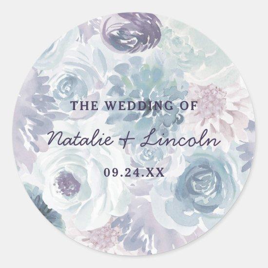 Annabelle Vintage Floral Monogram Rustic Wedding Classic Round Sticker