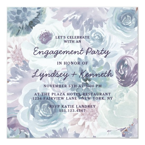 Annabelle Vintage Floral Square Engagement Party Invitation