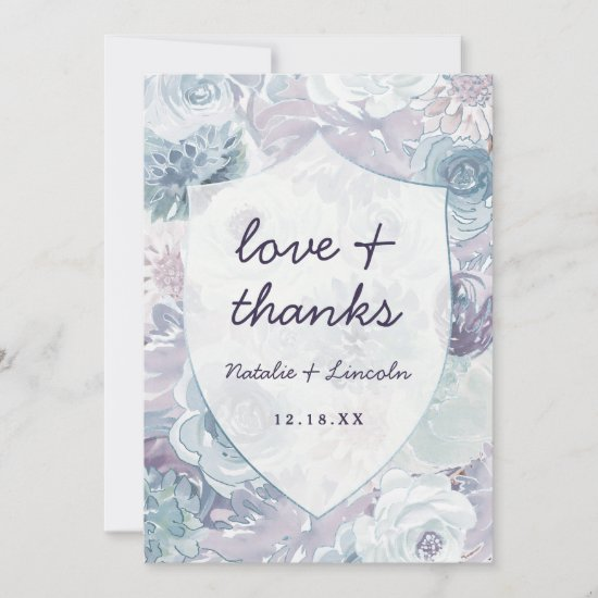Annabelle Vintage Floral Wedding Love and Thanks Thank You Card