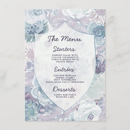 Annabelle Vintage Watercolor Floral Crest Dinner Menu