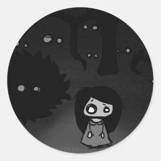 Annabelle's paranoia round sticker
