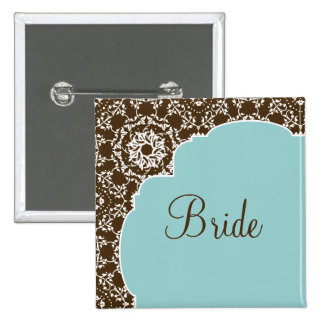 AnnaLiese Damask - Blue Bridal Party Button