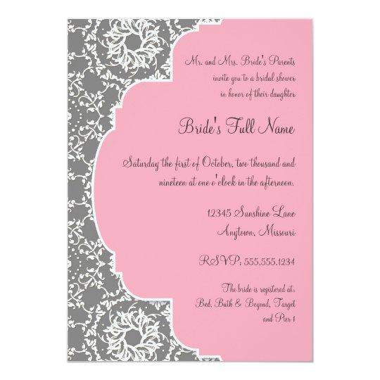 AnnaLiese Damask - Pink and Grey Bridal Shower Card