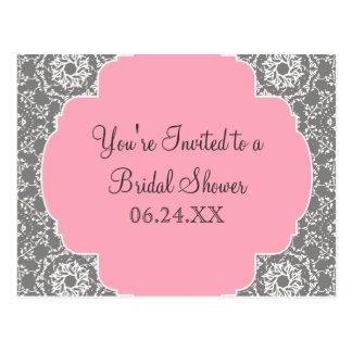 AnnaLiese Damask - Pink and Grey Bridal Shower Postcard