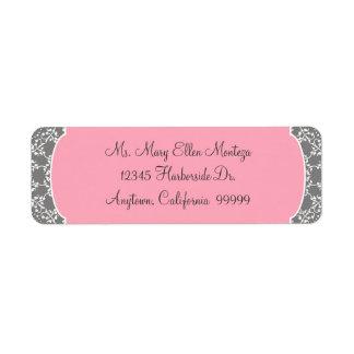 AnnaLiese Damask - Pink and Grey Matching  Labels