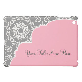 AnnaLiese Damask - Pink and Grey Personalized Cover For The iPad Mini