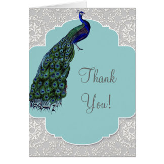 AnnaLiese Peacock Damask - Blue Thank You Notes