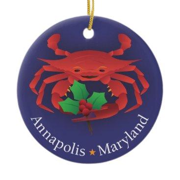 Christmas Themed Annapolis Maryland Ceramic Ornament