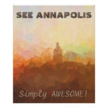 Annapolis Maryland Skyline IN CLOUDS Poster