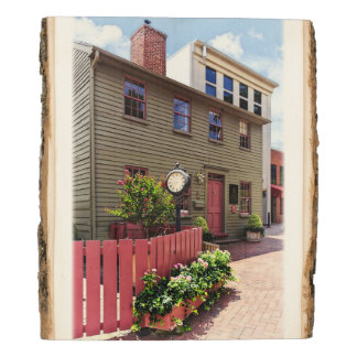 Annapolis MD - Clock by One State Circle Wood Panel