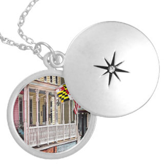 Annapolis MD - Flags Along East Street Silver Plated Necklace
