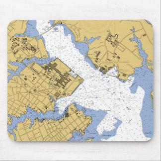 Annapolis MD Nautical Harbor Chart Mousepad