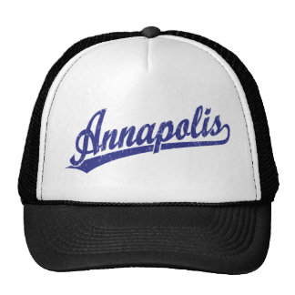Annapolis script logo in blue trucker hat