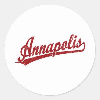Annapolis script logo in red classic round sticker