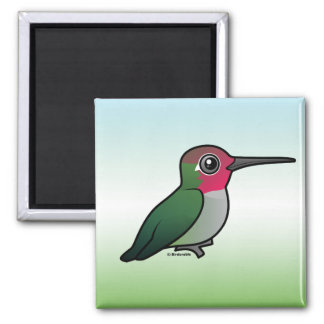 Anna's Hummingbird 2 Inch Square Magnet