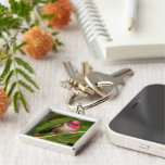 Anna's Hummingbird and His Raspberry-Dipped Head Silver-Colored Square Keychain
