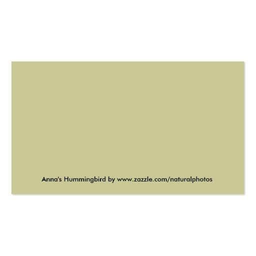 Anna's Hummingbird Business Card (back side)