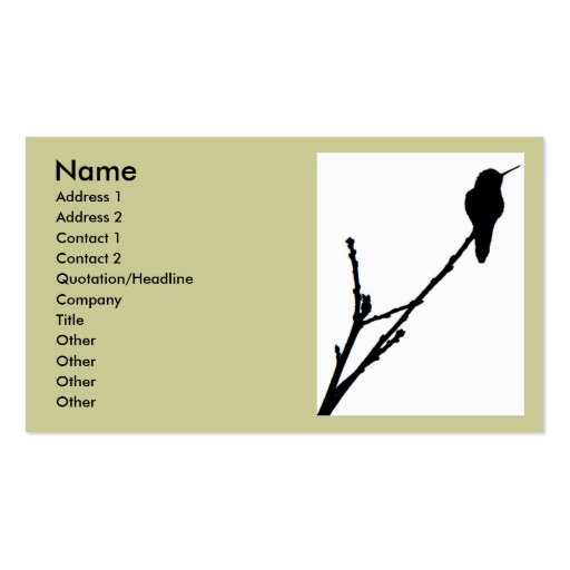 Anna's Hummingbird Business Card (front side)