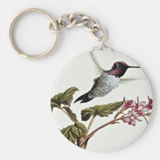 Anna's hummingbird  flowers basic round button keychain