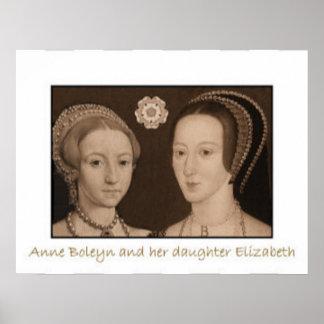 Anne Boleyn and her daughter Elizabeth Poster