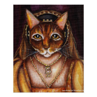 Anne Boleyn Cat Art King Henry VIII Wives Tudors Poster