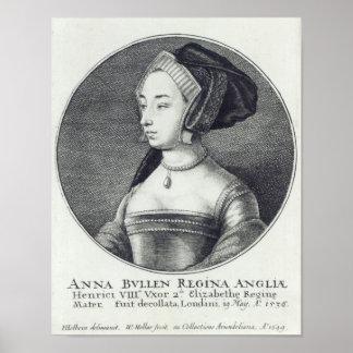 Anne Boleyn, etched by Wenceslaus Hollar, 1649 Poster