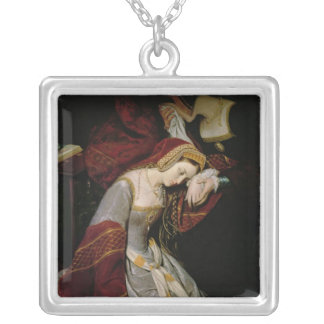 Anne Boleyn  in the Tower, detail, 1835 Square Pendant Necklace