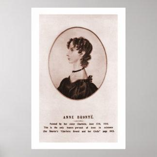 Anne Brontë portrait (sepia) Poster