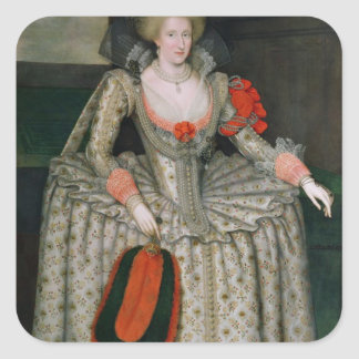 Anne de Dinamarca, c.1605-10 Pegatina Cuadrada
