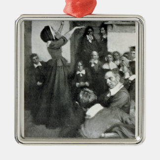 Anne Hutchinson Preaching in her House in Boston Metal Ornament