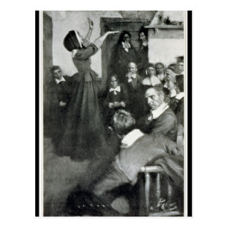 Anne Hutchinson Preaching in her House in Boston Postcard