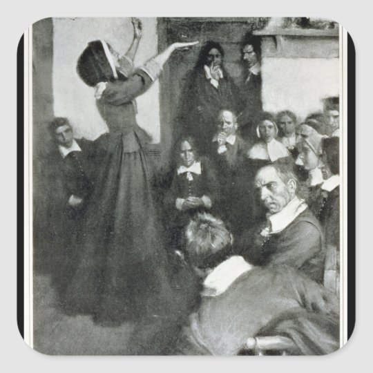 Anne Hutchinson Preaching in her House in Boston Square Sticker