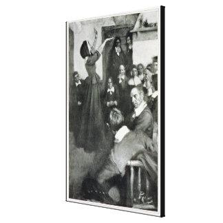 Anne Hutchinson que predica en su casa en Boston Lona Estirada Galerias
