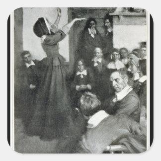 Anne Hutchinson que predica en su casa en Boston Pegatina Cuadrada