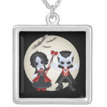 Anne-Marie and Dominic Little Gothic Square Pendant Necklace
