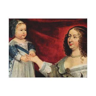 Anne of Austria and Louis XIV 60.96x45.72cm, Canvas Print