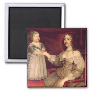 Anne of Austria  with her son Louis XIV Magnet