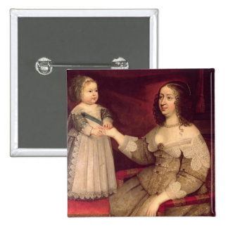 Anne of Austria  with her son Louis XIV Pinback Button