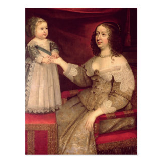 Anne of Austria  with her son Louis XIV Postcard