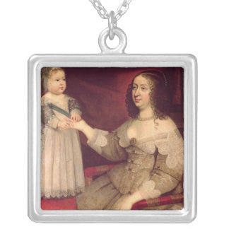 Anne of Austria  with her son Louis XIV Silver Plated Necklace