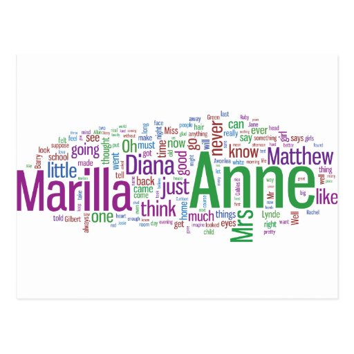 Anne of Green Gables Word Cloud Postcard