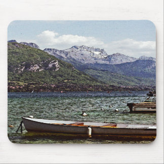 Annecy Lake with Mountains in the Background Mouse Pads