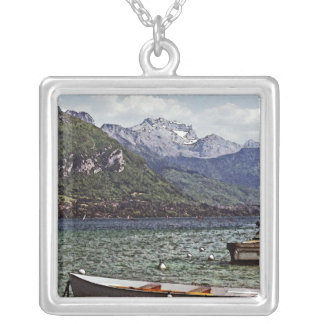 Annecy Lake with Mountains in the Background Necklace